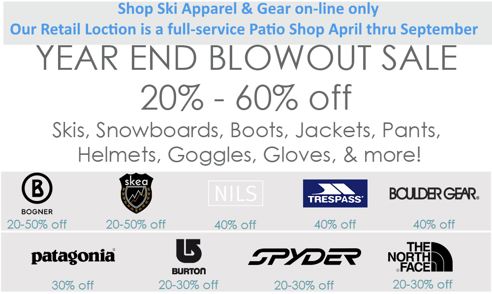 Clearance Ski Shop Patio Shop April Sept Rocky Mountain Ski And